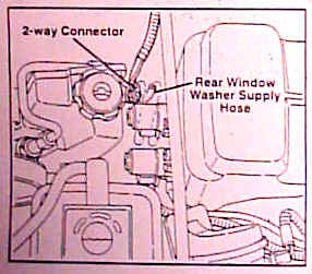 Plug In 2 Way Connector And Supply Hose From The Overlay Harness To Corresponding Connections On Rear Window Washer Pump